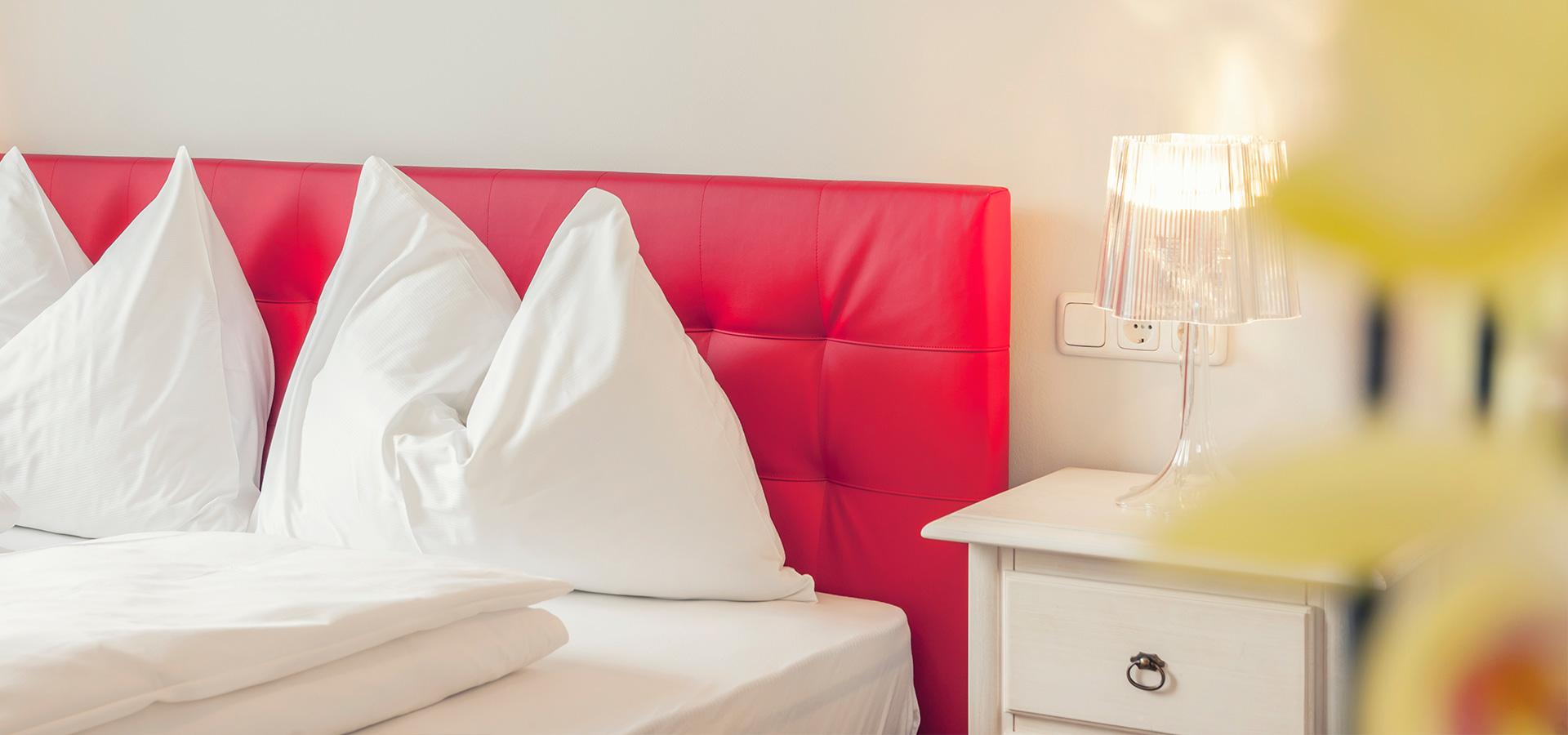 Doppelbett im La Cucina Hotel